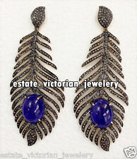 Studded Victorian Feather Earring Jewelry 6.99Cts Pave Rose Cut Diamond Sapphire