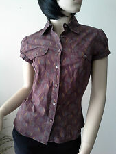 CUE sz 8 Plum Short Sleeve Cotton Blend Shirt Blouse Buy Any 3=Free Post