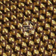 Brown & Gold (UL) Cloth Covered Electrical Wire - Braided Rayon Fabric Wire