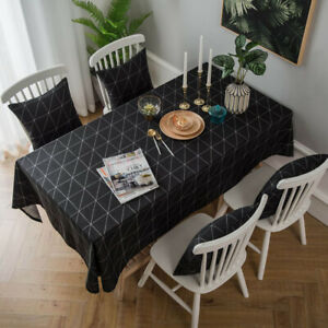 Geometric Pattern Cotton Linen Table Cloth Cover Rectangle Tablecloth Home Decor