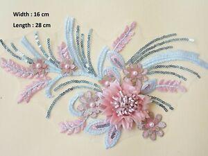 3D Silk Flowers Plant Costume Lace Applique Sequin Embroidery Evening Dress Trim