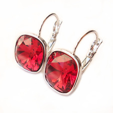 Scarlet Red Crystal Drop Earrings w/ Cushion Swarovski Rhinestone Christmas Gift
