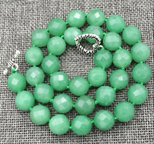 "Natural 10mm green Aventurine Faceted Gemstone Necklace 18 ""Festive"