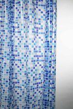 Blue Peva Mosaic Design Shower Curtain 180 x 180cm Hooks Included Blue white