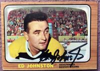 **SIGNED ED JOHNSTON** 1966-67 TOPPS #99 ~ **EX+/NM** BOSTON BRUINS
