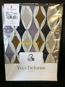 Yves Delorme Queen Flat Sheet Purple White Modern Diamond Graphics Cotton Sateen