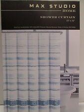NEW Max Studio Home Fabric Shower Curtain Watercolor Stripe Blues  White GIGI