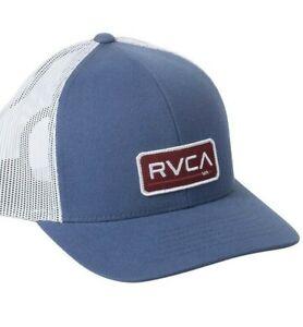 Men's RVCA Ticket Trucker Hat Mid Fit Blue Curved Bill Snapback Mesh Retro Logo
