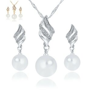 Pearl Jewellery Set Necklace Pendant Earrings Crystal Plated Big Elegant Stone