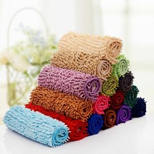 Bath Mat Microfiber Soft Absorption Non Slip Door Room Floor Rugs Solid Carpets