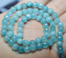 """New 6mm Light Blue Faceted Aquamarine Gems Round Loose Beads 15"""""""