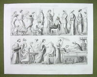 CLASSIC GREECE Life Wedding Funeral Gymnastics Women - 1870s Engraving Print