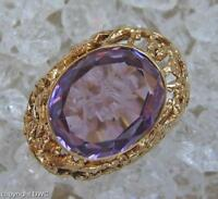 Antiker Damen Finger Ring Jugendstil mit Amethyst Wappen in aus 585 Gold Antik