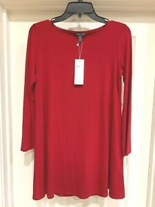 NWT, EILEEN FISHER Red Viscose Knit Long Sleeve Jersey Tunic Top, X-Small $158