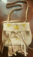 Moroccan leather purse/bag/coin purse with strap BEIGE medium