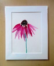 ORIGINAL ART - Purple Coneflower watercolour with mat board