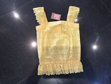 NWT Juicy Couture New & Gen. Ladies Small Yellow 100% Cotton Peasant Top UK 8/10