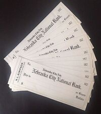 10 NEBRASKA CITY NATIONAL BANK CHECKS of the 1870's PRINTED by WESTERN BANK NOTE