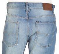 DIESEL Mens Straight Denim Jeans WAYKEE Embroidered LIGHT BLUE Designer $198 NWT