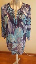 Avenue Womens Sheer 3/4 Sleeve Multi Colored Embellished V Neck Pullover Blouse