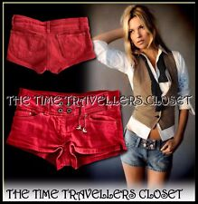 NUOVO KATE MOSS TOPSHOP Red Denim Hot Pants Pantaloncini RONDINE CATENA W28 UK10 GRATIS P&P