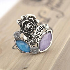 Women Silver Rose Flower Crystal Shape Adjustable Ring Charming Jewelry Gift