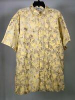 RUM REGGAE Vintage Yellow Alligator Croc Hawaiian Button Shirt Mens XL