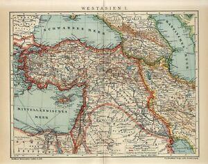 1912 TURKEY OTTOMAN EMPIRE PERSIA IRAN ARMENIA AZERBAIJAN ARABIA Map dated