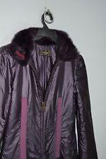 Fendi Vintage 42 IT 8 USA Real Fur Collar Purple Parka Coat Jacket