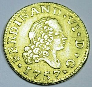 Authentic 1757 Spanish Gold 1/2 Escudo Old Antique Pirate Doubloon Treasure Coin