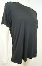 PAUL & JOE PARIS Black Crystal Glass Beaded Shoulders Stretch T-Shirt Tee Top 3