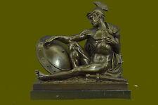 ANCIENT TIMES ROMAN LEGION SOLDIER JAVELIN SHIELD Sculpture PURE Bronze HOT CAST