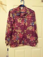 BON WORTH Womens Petite Medium Blouse Purple Pink Semi Sheer Floral Buttons