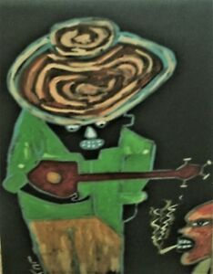 African American Folk Art Painting by Leon Collins:Giclee of Banjo Man 8X10