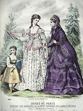 GRAVURE ANCIENNE MODE 19e - JOURNAL DES DEMOISELLES - MODES DE MME VELIN - 1872
