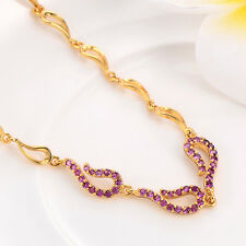 Shiny Womens 18K White/Ruby claer crystal Stretch Chain Bracelet Bangle