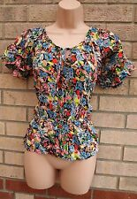 NEXT BLACK MULTI COLOR FLORAL CHIFFON CAMI VEST  BLOUSE  TOP T SHIRT TUNIC 8 S
