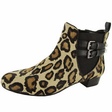 Animal Print Leather Ankle Boots for Women
