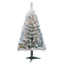 Holiday Time Pre-Lit 4' Greenfield Flocked Pine Artificial Christmas Tree Clear