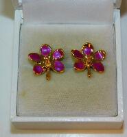 Dainty Orchid Exotic Flower Purple Enamel Gold Tone Stud Pierced Earrings 4d 91