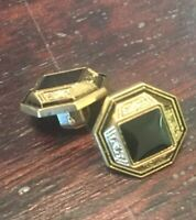 Square / Octagonal Filigree Faceted Black & Gold Plastic Shank Buttons 15 Mm