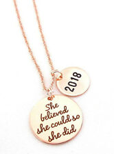 Rose Gold graduation necklace 2018 Graduation Necklace She Believed She could