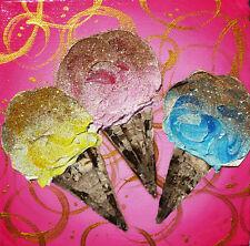 Ice Cream Art, Original Impasto Painting, Pink Gold Wall Art, Gold Glitter Art