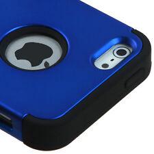 iPhone SE / 5S - Blue Black Hybrid Armor Defender Hard & Soft Rubber Case Cover