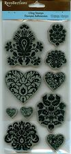 RECOLLECTIONS cling rubber stamps DAMASK Heart Flowers Accents