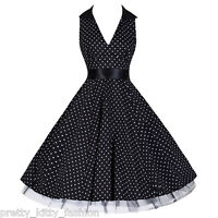 PRETTY KITTY 50s ROCKABILLY BLACK POLKA DOT VINTAGE SWING PROM PARTY DRESS 8-20