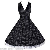 PRETTY KITTY 50s ROCKABILLY BLACK POLKA DOT VINTAGE SWING PROM PARTY DRESS 8-20