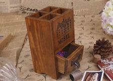 Timber Wooden Pencil Vase Pot Crate Retro Storage Spice Rack Display Unit A11