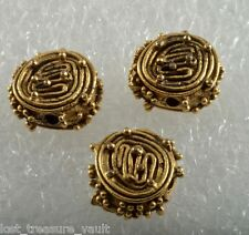 Vintage Metal Bead Swirl and Dot Drilled Through Gold Tone Lot of 3 Jewelry Maki