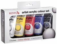 5 x LARGE 75ml REEVES ACRYLIC PAINT PRIMARY COLOURS RED BLUE BLACK YELLOW WHITE
